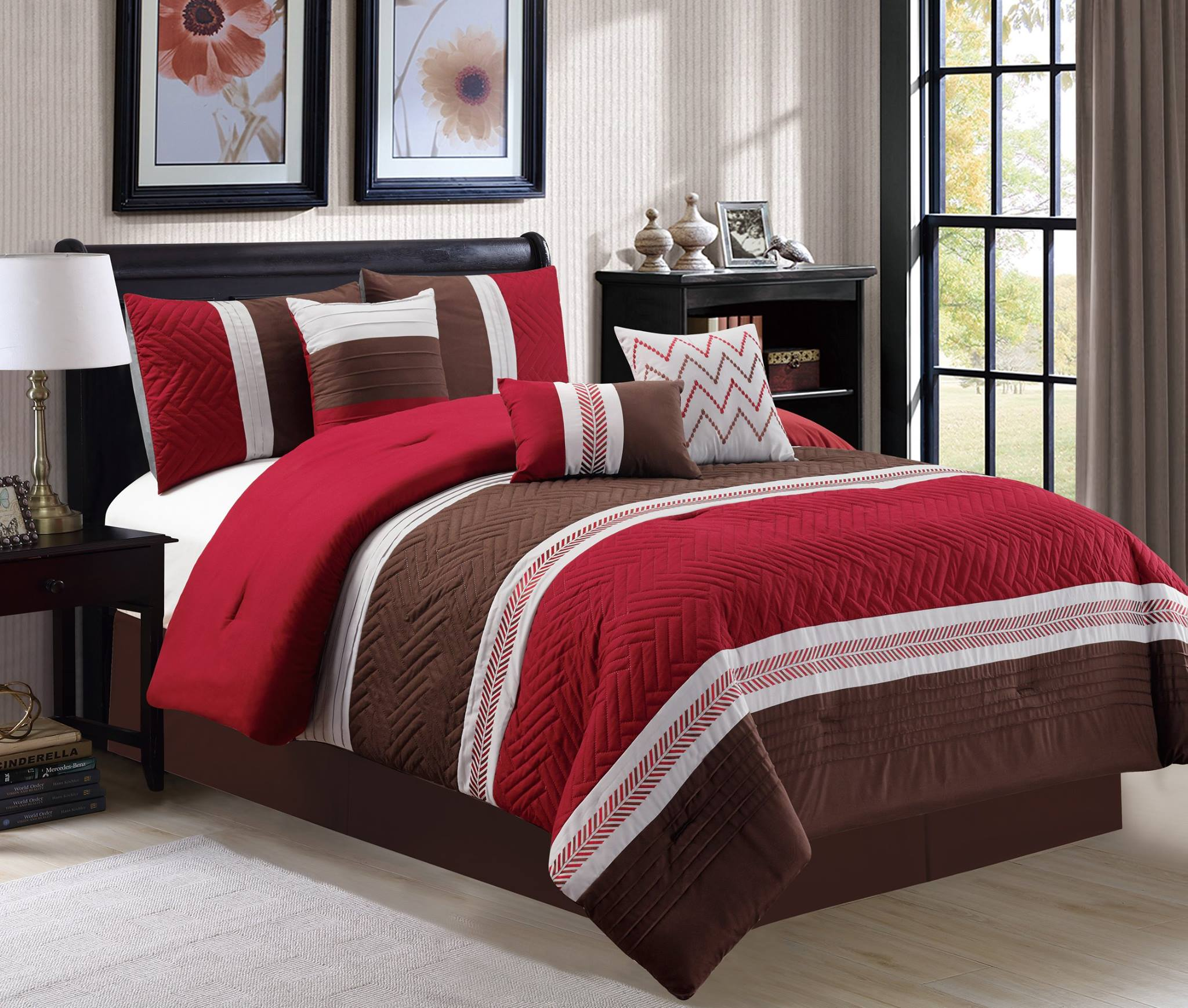 Luxury Embossed 7 Piece Comforter Set Burgundy Brown White Embroidery Details