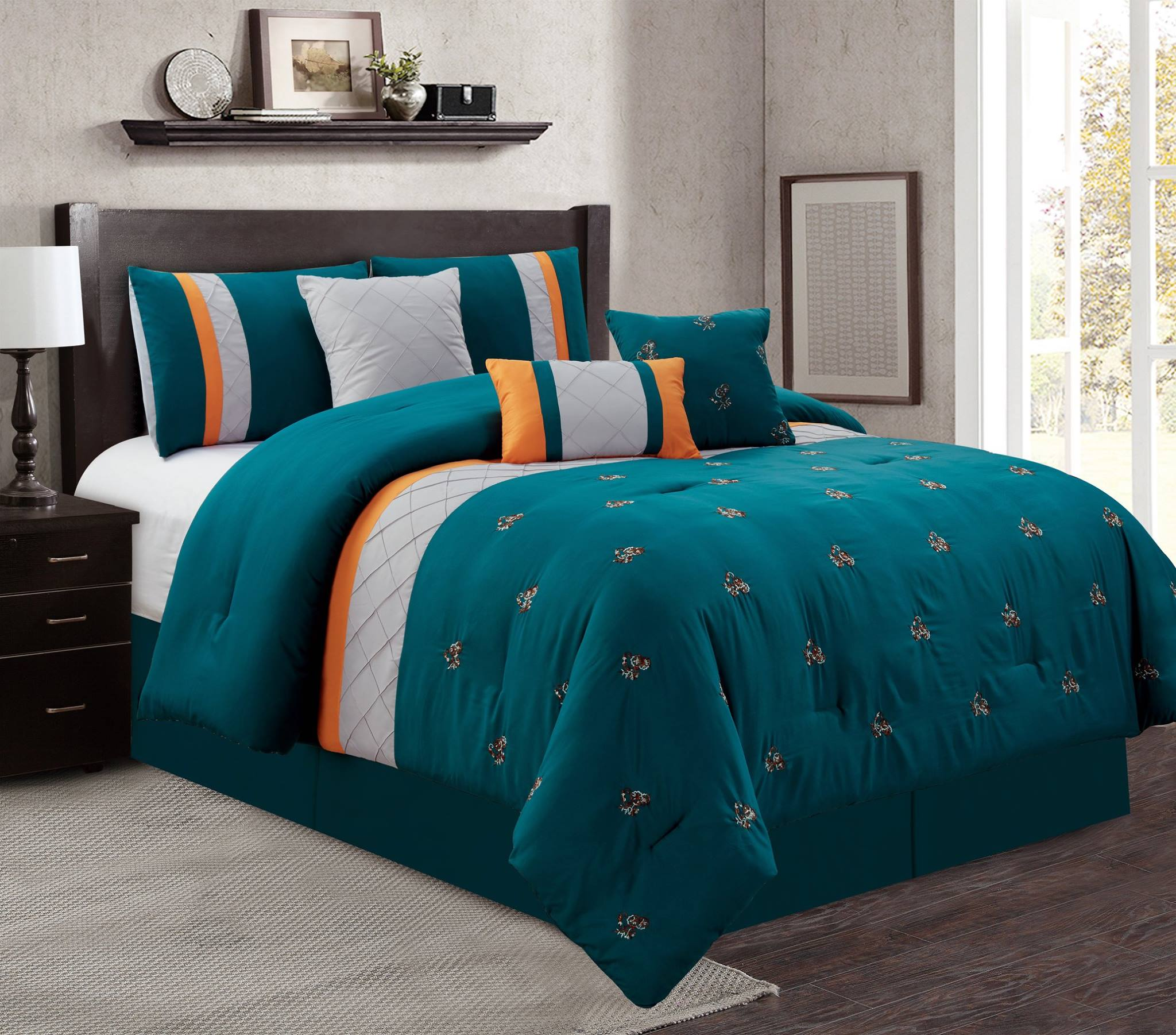 Luxury 7 Piece Comforter Set Teal Grey Orange Floral