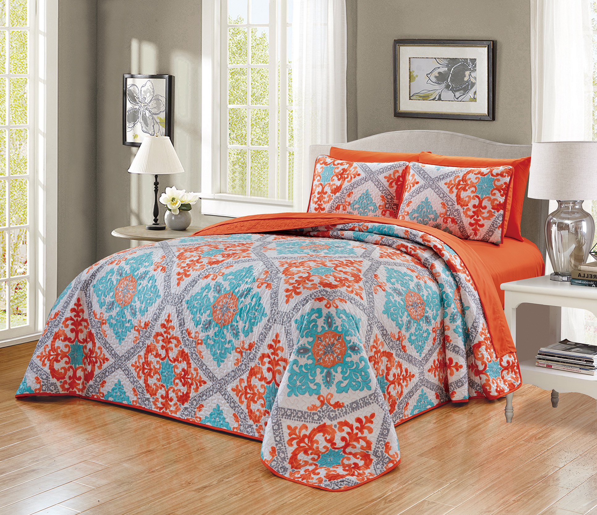 7 Piece Embroidered Thin Quilt Bedspread Set With Complete Sheet Set Turquoise Orange Mandala Design Micasa Shop
